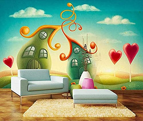 Fondo de pantalla de casa de cuento de hadas de amor de dibujos animados dibujados a mano Pared Pintado Papel tapiz 3D Decoración dormitorio Fotomural de estar sala sofá mural-430cm×300cm