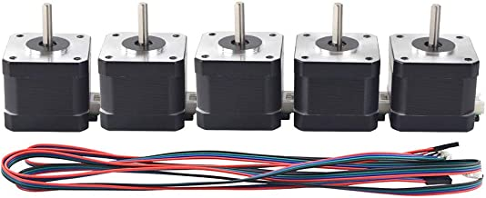 MybotOnline Nema 17 Stepper Motor Bipolar 42mm 1.8deg 62oz-in 1.7A 4-lead Full D-cut Shaft for 3D Printer CNC Reprap Laser Engraving, 5-Pack