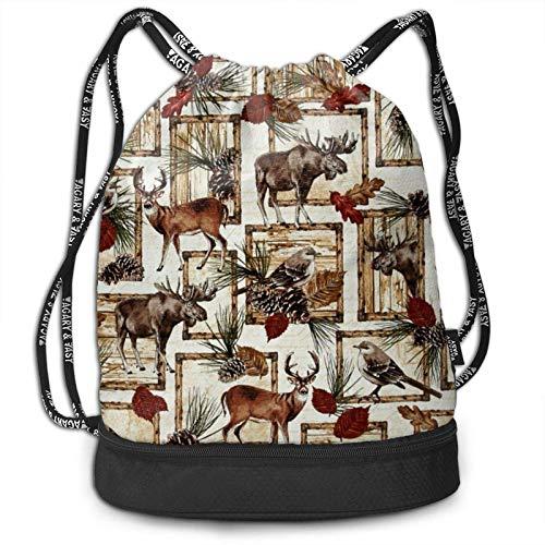 XCNGG Cabin Rules Deer Bear Moose Patch Drawstring Bag For Sport Gym Heavy Duty Backpack With Compartment Cinch Bag String Pouch For Boys Girls Teens Travel Beach Hiking