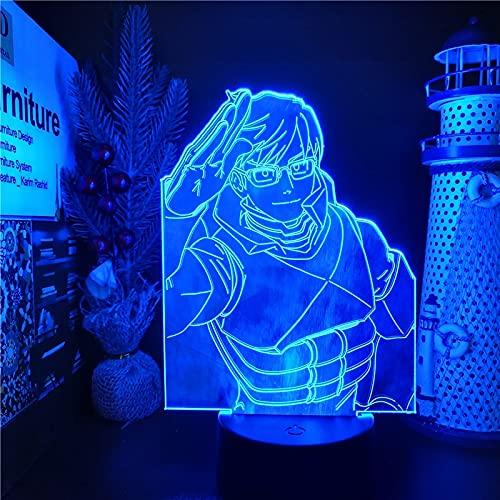 MY HERO ACADEMIA Boku no Hero Academia Iida Tenya LED ANIME LAMP 3D Nightlights Visual Night Light Lámpara de mesa para regalo de Navidad, base negra sin control remoto
