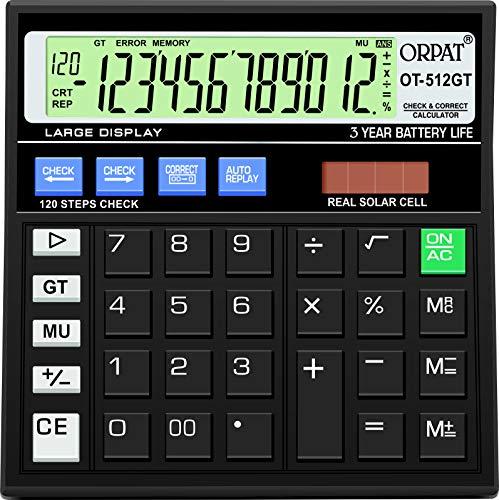 ORPAT OT 512 GT - Calculadora Básica, Energía Solar, Negro