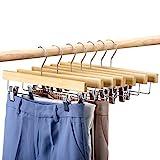 HOUSE DAY 25 pezzi Appendini in legno per pantaloni 14' Appendini in legno con clip Salvaspigoli per pantaloni, gonne, jeans e pantaloni