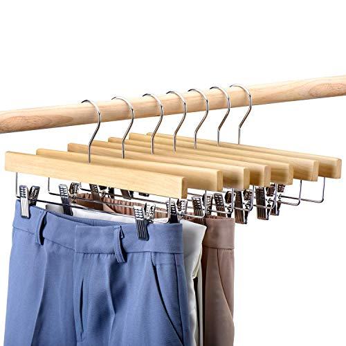 """HOUSE DAY 25 pezzi Appendini in legno per pantaloni 14"""" Appendini in legno con clip Salvaspigoli per pantaloni, gonne, jeans e pantaloni"""