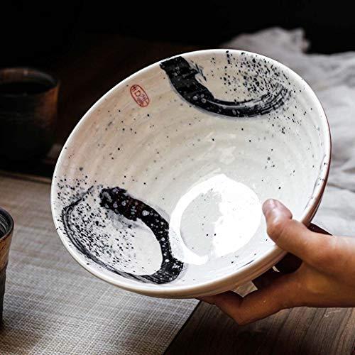SMC Cuenco Cuenco Creativo de Ramen Cuenco de Ensalada japonés Retro del Estilo del hogar Cuenco de Sopa Grande del Cuenco de cerámica (Color : Blanco)