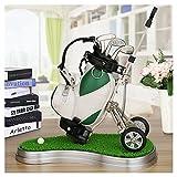 10L0L Mini Desktop Golf Bag Pen Holder with Lawn Base and Golf pens 6-Piece Set of Golf Souvenir Tour Souvenir Novelty Gift (Green and White)