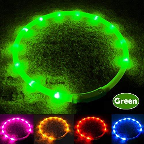 VOKOLY Collar de Perro LED de Seguridad – USB Recargable con Resistente al Agua y Ajustable luz de Collares para Todos los Tamaños de Perro