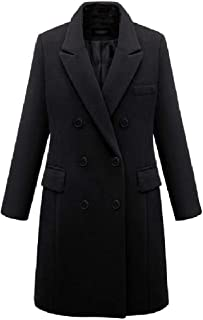 neveraway Womens Turn Down Collar Jacket Double-Breasted Wool Blend Long Outwear