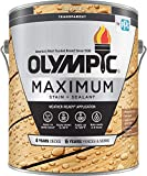 Olympic Stain Maximum Wood Stain and Sealer, Transparent Stain, 1 Gallon, Honey Gold