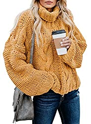 Material: Womens turtleneck sweaters tops is made of soft and cozy braided knit material, the extraordinary texture makes women sweaters are easy and comfortable to wear. Features: Taking inspiration from the typical chunky knit sweater, this is the ...
