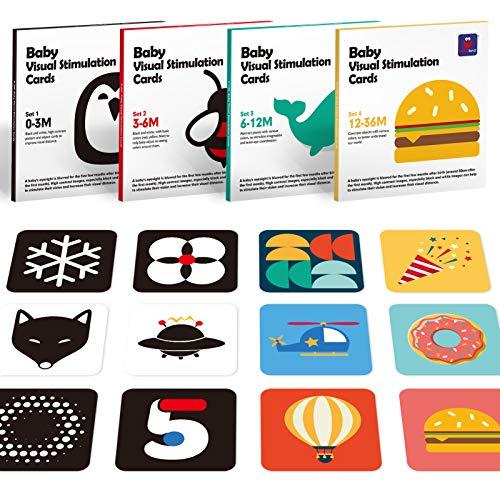 Tarjetas Flash para Bebés Juguetes Bebes 0 3 6-12 Meses, Tarjetas Negras y Blancas Doble Cara Tarjetas Flash de Alto Contraste Juguetes niños 1 año 2 3 años para Estimulación Visual, 80 Piezas