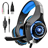 Beexcellent Gaming Headset for PS4, PS3, Xbox One Controller, PC, Laptop, Nintendo Switch, Mac, Over Ear Headphones with Noise Cancelling Mic, LED Light, Stereo Bass Surround Sound, Xbox One Headset