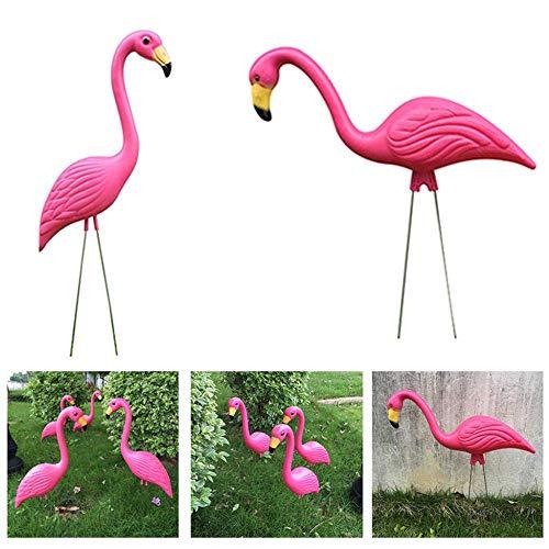 GaoF Estacas de jardín de Flamenco Rosa Retro Estatuas al Aire Libre Adornos Arte de jardinería de plástico Regalos caprichosos de Navidad