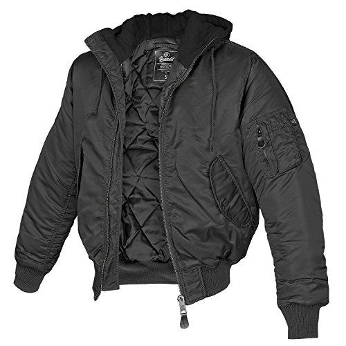 Brandit MA1 Sweathood Bomberjacke, schwarz mit schwarzer Kapuze, Größe 5XL
