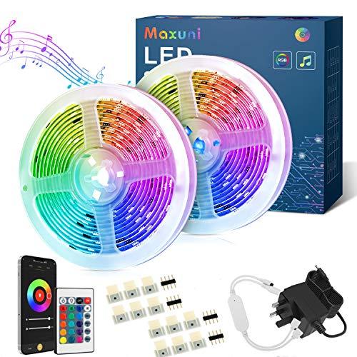 Tira LED TV 5M-Maxuni Luces LED TV RGB alimentada por USB con micrófono incorporado para TV de 32-65 pulgadas, tira de iluminación de sincronización de música USB con buletooth y control remoto (20M)