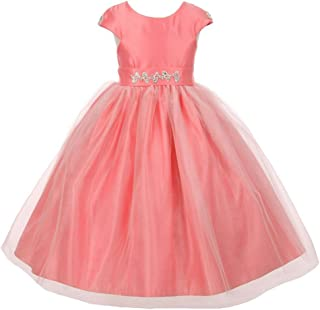 59fed32993a Big Girls Coral Shiny Tulle Dull Satin Rhinestone Flower Girl Dress 8-12