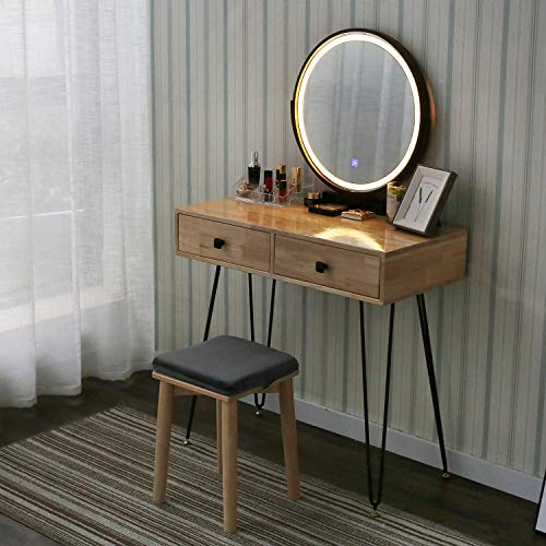 YOURLITEAMZ Vanity Table Set with Touch Screen Adjustable Lighted Mirror with Cushioned Stool 3 Lighting Modes Round Mirror Dressing Table 2 Drawers Easy Assembly