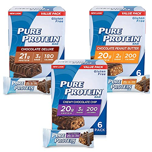 Pure Protein Bars, High Protein, Nutritious Snacks to Support Energy, Low Sugar, Gluten Free, Variety Pack, 1.76oz, 18 Pack by New Look