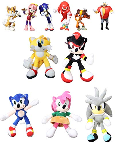 Juguetes Sonic 11 unids / Lote Sonic muñeco de Peluche Juguetes Negro Azul Amarillo Sonic Peluche Suave Juguete de Peluche Caliente muñeca de Juego para niños