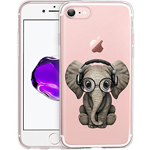Cute Baby Elephant Clear Phone Case for iPhone 8   iPhone 7 Customized Design by MERVELLE TPU Clear Shock-Proof Protective Case [Ultra Slim, Anti-Slippery]