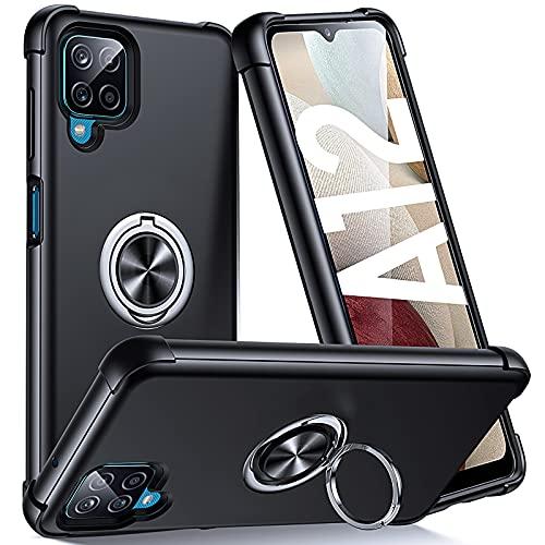 Supdeal Compatible con Funda Samsung Galaxy A12 (6,5'), Carcasa Posee Anillo Magnético Prueba de Golpes de 360 Grados Resistente Rayones, Protección Cubierta del Soporte, Negro
