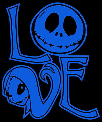 Trademark Unique Deals Jack skellington and Sally, Nightmare Before Christmas, Love, Wall art, home, Die cut vinyl decal for windows, cars, trucks, tool boxes, laptops, MacBook (Light Blue)
