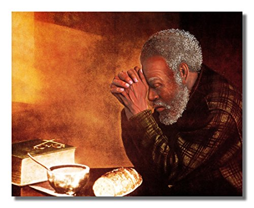 African American Black Daily Bread Man Praying Grace Religious Wall Picture 8x10 Art Print