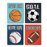 4er Set Fußball Poster für Jugendzimmer Jugen, Fußball