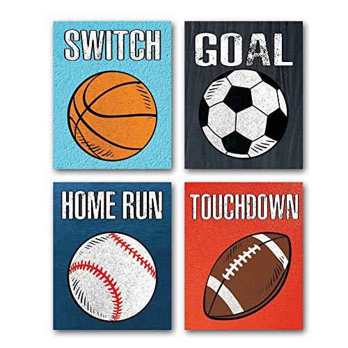KAIRNE 4er Set Kinderzimmer Babyzimmer Bilder, Fußball Poster, Kinder Ball Rugby Basketball, Junge Poster, Baby Wandbilder set, Kinderbilder Babybilder Ohne Rahmen