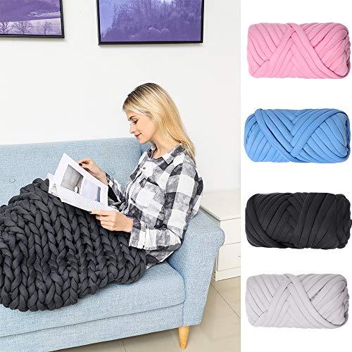 Super Chunky Yarn Arm Knitting Blanket Bulky Yarn Merino Wool Alternative 2.2Lb (Pink)