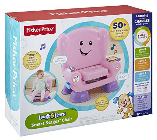 Fisher-Price CFD39 Smart Stages Pink Chair, Activity Chair Toy for 1 Year Old with Sounds, Music and Phrases