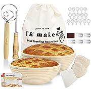 TK Makes runder Brotgärkörbchen Set mit 2 Banneton Proving 22,9 und 25,4 cm Rattan Sauerteig Brotkörbe mit Stoffbeutel, Ritzellame, Teigschaber, Mehlbesen, Brot machen Werkzeuge für Bäcker