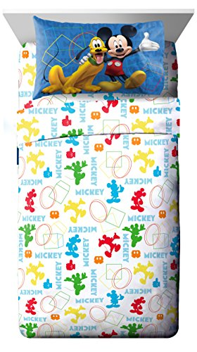 Disney Junior Mickey Mouse Clubhouse Adventure White 3 Piece Twin Sheet Set (Official Disney Product)