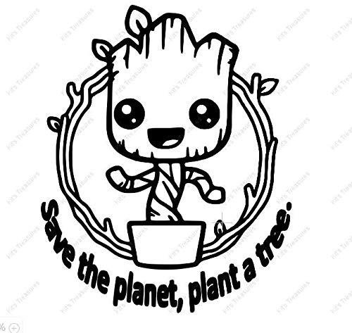 SUPERSTICKI Baby Groot Save The Planet Plant a Tree 20 cm stickers, autostickers, wandtattoo, stickers professionele kwaliteit voor lak, ruit, enz. wasstraatbestendig