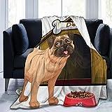 keiou Cómoda Manta de Franela Fina,Pug Delante de la casa del Perro y su Comida de Dibujos Animados,Manta de Aire Acondicionado 50'x60'