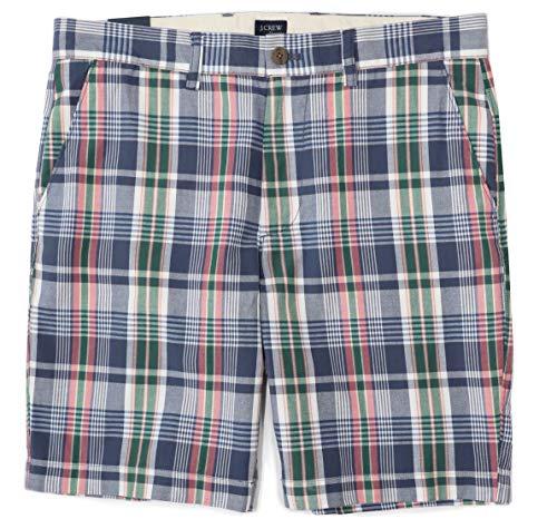 J.Crew Mercantile Men's 9' Madras Shorts (34, Navy/Pink/Green/Multi)