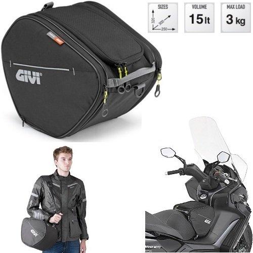 Givi EA105B - Bolsa de tunnel, 15 litros, color negro, universal, scooter y maxiscooter, línea Easy-T, fijación con 1 correa y 2 clips