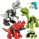 Sundaymot Juego de juguetes de montaje de dinosaurios, 4 piezas, juguetes para niños, con caja de almacenamiento, taladro eléctrico, juguete de construcción, regalo para niños y niñas de 3 años