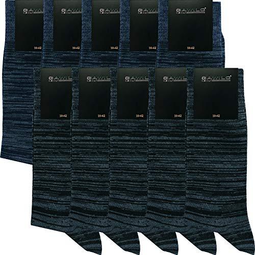 GAWILO 10 Paar PREMIUM Socken ohne drückende Naht   Damen und Herren   gekämmte Baumwolle   Business und Freizeit (43-46, mix Bi-Color)