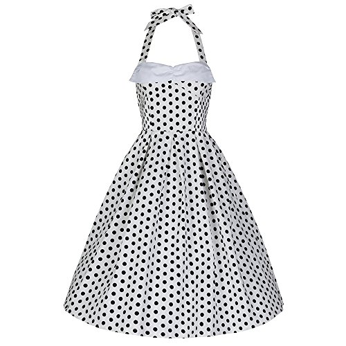 Lindy Bop Damen Kleid Deidre White Polka schwarz weiß Punkte (m)