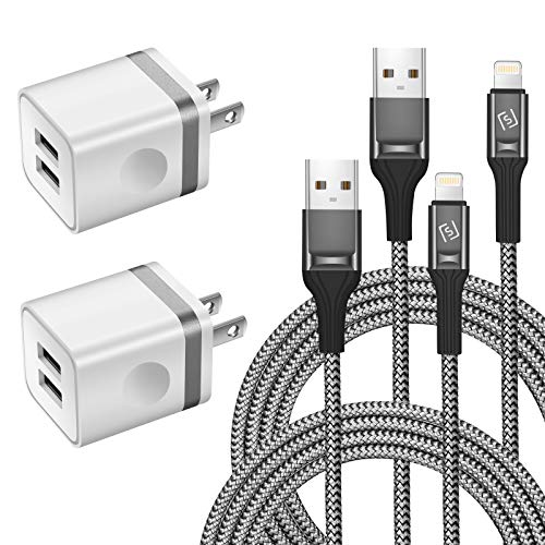WHIRELEAST iPhone Charger Cable 10 FT with Wall Plug, Braided Long iPhone Charging Cord + Dual USB Wall Charger Block Adapter Compatible with iPhone 11/11 Pro Max/XS/XR/X/8/7/6 Plus, iPad (4-Pack)
