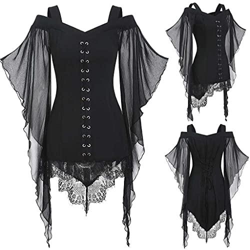 Sunggoko Vestido gótico para mujer, blusa de encaje, túnica, bruja, cosplay, vestido de Navidad, festivo, talla grande, vestido medieval, punk, carnaval., 1 negro, L