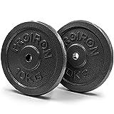 PROIRON Discos de Pesas (Orificio de 25 mm) para musculación Juego de Placas de Pesas de Hierro Fundido para Manillar con Mancuernas de 1' (2 x 10kg)