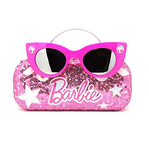 Barbie Girl's Cat Eye Sunglasses and Handled Hard Case Set, Pink Sparkle