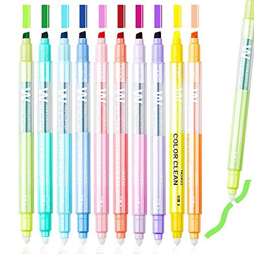 Subrayadores borrables, rotuladores de doble punta, escritura fluida, rotuladores de punta biselada, colores surtidos, paquete de 10