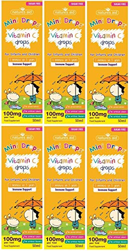 Natures Aid Vitamin C Drops, Immune Health for Infants and Children, Sugar Free, 50 ml (Pack of 6)