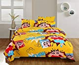 Mosho Pure Cotton 220 TC BedSheet Shin Chan Print Double Bed with 2 Pillow Covers - Yellow Cartoon Design