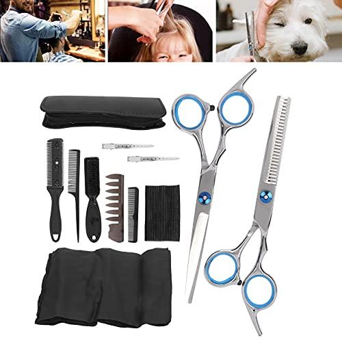 Juego de tijeras de corte de pelo de salón, 12 piezas duraderas duraderas profesionales ABS + kit de tijeras de corte de pelo de acero inoxidable para salón de peluquería para el hogar para