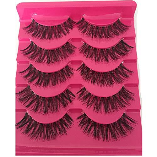 5 paires/set superbe maquillage main malpropre croix naturelle faux cils cils yeux extension outils charmant faux cils (Color : Red)