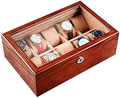 MQJ Reloj de Madera Iza Caja de Alenamiento Mecánico Reloj de Bloqueo Bloqueo de Lock Jewelry Caja de Exhibición Caja de Exhibición Joyería Mostrar Caja de Casos Moda,Marrón,con Tragaluz