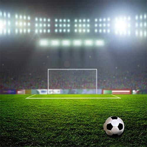 EdCott - Estadio de fútbol, 5 x 5 pies, iluminación de fondo de vinilo, color verde, campo de fútbol, césped, campo deportivo, fotografía, fondo, niños, deportista, retrato de fotos, accesorios